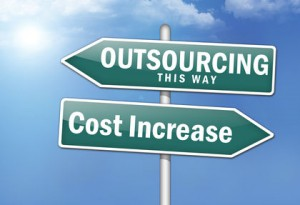 "Way Signs ""Outsourcing, This Way - Cost Increase"""
